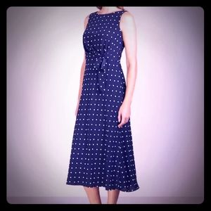 Ralph Lauren Tomara navy polka dot midi dress.12
